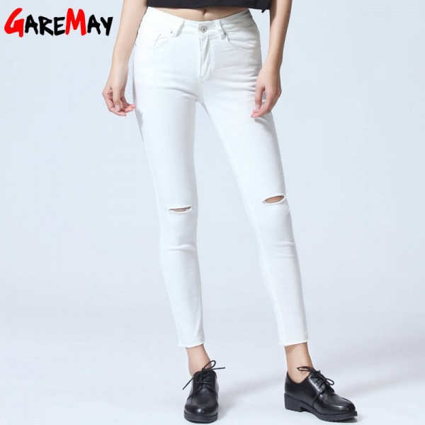 Stretch Jeans Female Capri Ripped Destroyed Jeans Pencil Pantalon Jeans For Women Thumbnail