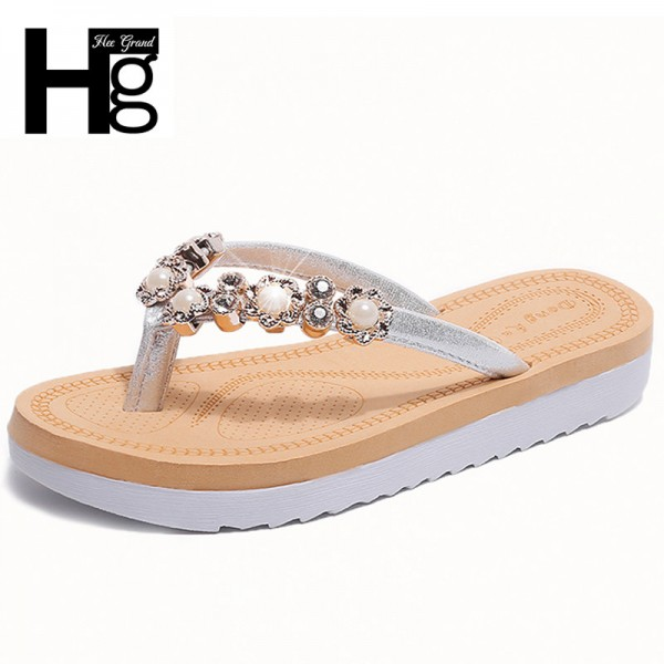 String Bead 2018 New Flip Flops Fashion Solid Women Shoes Rubber Platform Slip on Summer Slippers Shoes Women Extra Image 1