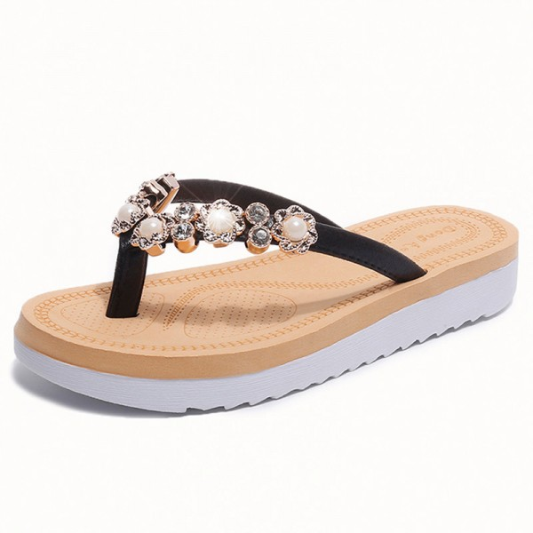 String Bead 2018 New Flip Flops Fashion Solid Women Shoes Rubber Platform Slip on Summer Slippers Shoes Women Extra Image 2
