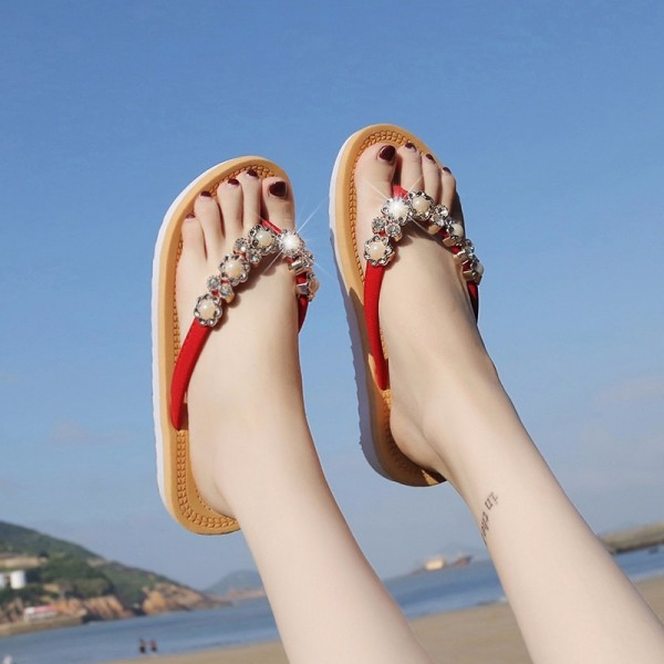 String Bead 2018 New Flip Flops Fashion Solid Women Shoes Rubber Platform Slip on Summer Slippers Shoes Women Extra Image 3