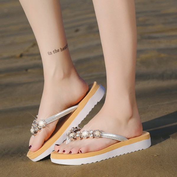 String Bead 2018 New Flip Flops Fashion Solid Women Shoes Rubber Platform Slip on Summer Slippers Shoes Women Extra Image 5