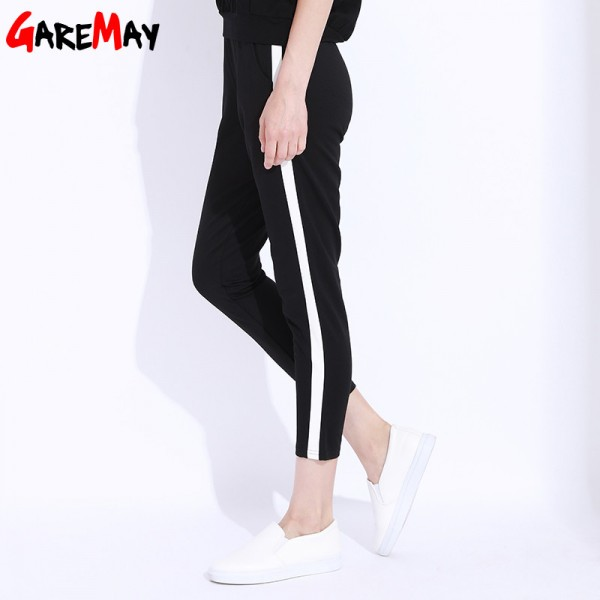 Striped Harem Pants Capri Women Elastic High Waist Casual Pants Black Trousers Female Loose Pencil Pant Femme