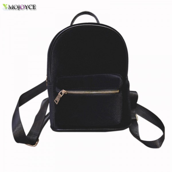Stylish Women Backpack Travel Rucksack Girls Small Backpack For Female Cool Faux Fur Solid Color School Shoulder Bag Extra Image 2