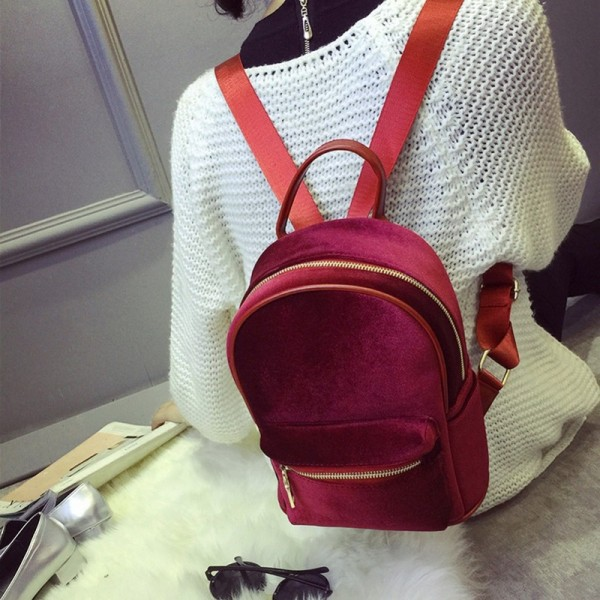 Stylish Women Backpack Travel Rucksack Girls Small Backpack For Female Cool Faux Fur Solid Color School Shoulder Bag Extra Image 3