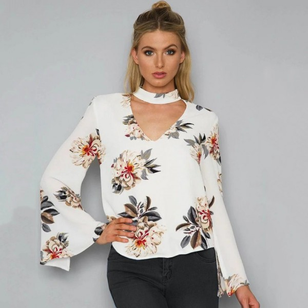 Summer Autumn Blouses Sexy Halter V Neck Loose Long Flare Sleeve White Blouse Shirt Print Floral Fashion Blusas Tops Extra Image 1