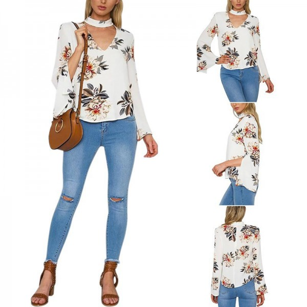 Summer Autumn Blouses Sexy Halter V Neck Loose Long Flare Sleeve White Blouse Shirt Print Floral Fashion Blusas Tops Extra Image 3