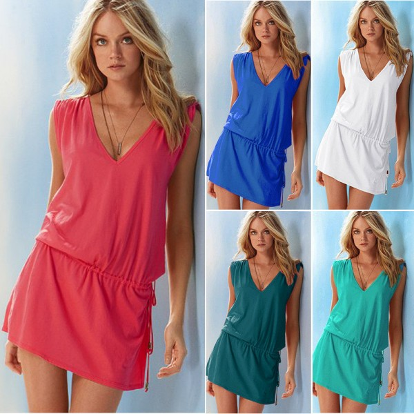 Summer Beach Dress Bathing Suit Cover Ups Mini Dress Tunic Dress Cool Summer Beach Style Outfits For Females