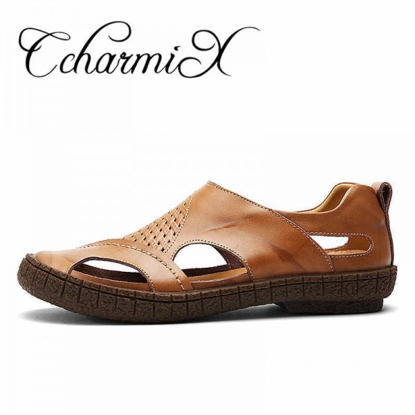caa4475dbd10 ... Summer Beach Shoes 2018 Fashion Designers Men Sandals Split Leather  Slippers For Men Slip On Casual ...