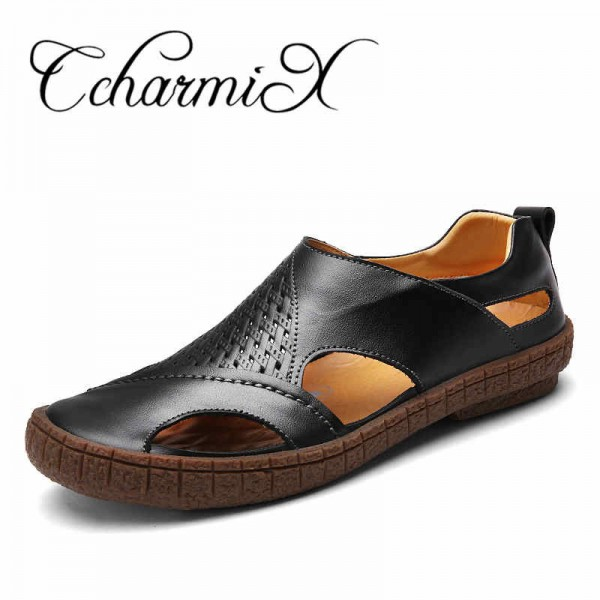 Summer Beach Shoes 2018 Fashion Designers Men Sandals Split Leather Slippers For Men Slip On Casual Shoes Men Shoes Extra Image 4