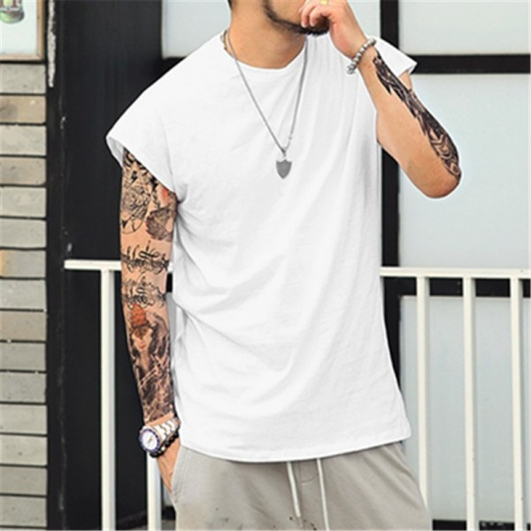 Summer bodybuilding Vest oversize Sleeveless T Shirt o neck Wide Shoulder vest Mens casual top tees brand clothing Extra Image 4