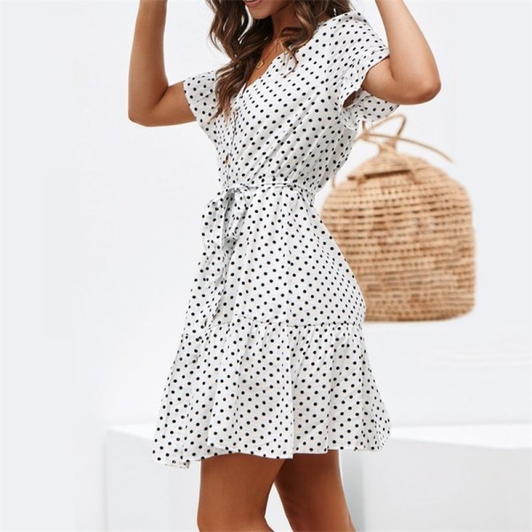 Summer Dot Print Dress Fashion V Neck Button Chiffon Dress Casual Short Sleeve Women Sundress Mini Party Ladies Dresses Extra Image 2