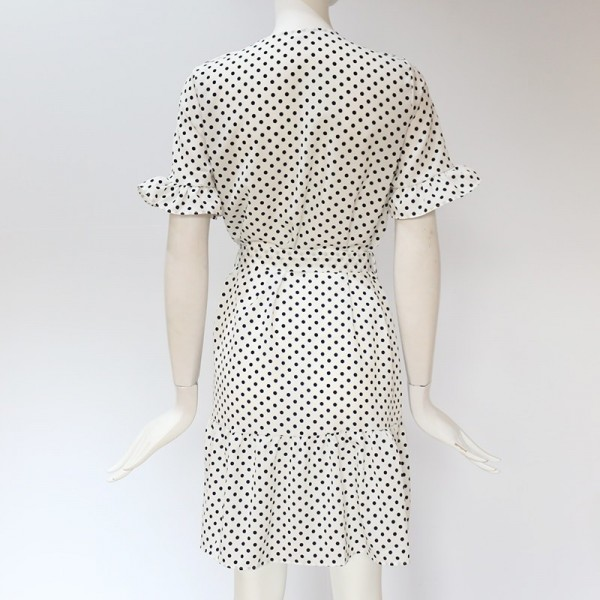 Summer Dot Print Dress Fashion V Neck Button Chiffon Dress Casual Short Sleeve Women Sundress Mini Party Ladies Dresses Extra Image 6
