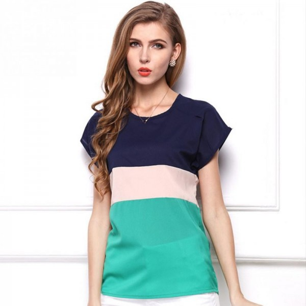 Summer Fashion Women T Shirts Fresh Collection 2018 Blouse Horizontal Stripe Patchwork Tops For Women