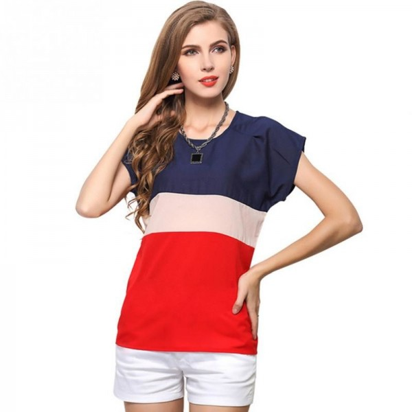 Summer Fashion Women T Shirts Fresh Collection 2018 Blouse Horizontal Stripe Patchwork Tops For Women Extra Image 1