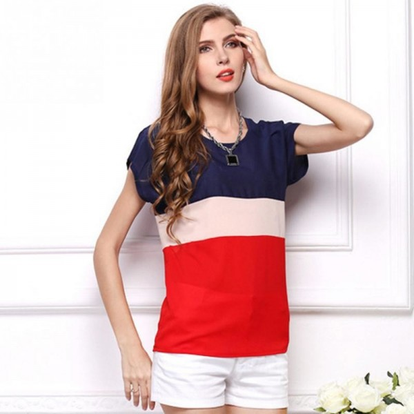Summer Fashion Women T Shirts Fresh Collection 2018 Blouse Horizontal Stripe Patchwork Tops For Women Extra Image 2