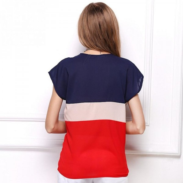 Summer Fashion Women T Shirts Fresh Collection 2018 Blouse Horizontal Stripe Patchwork Tops For Women Extra Image 3