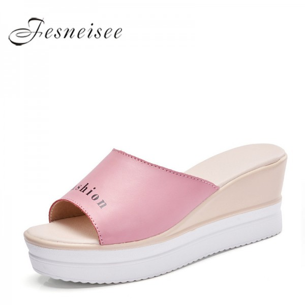 Summer Fashion Women Wedges Outdoor Slippers Genuine Cow Leather Lady Shoes Free Mail Women Slippers Plus Size Extra Image 1