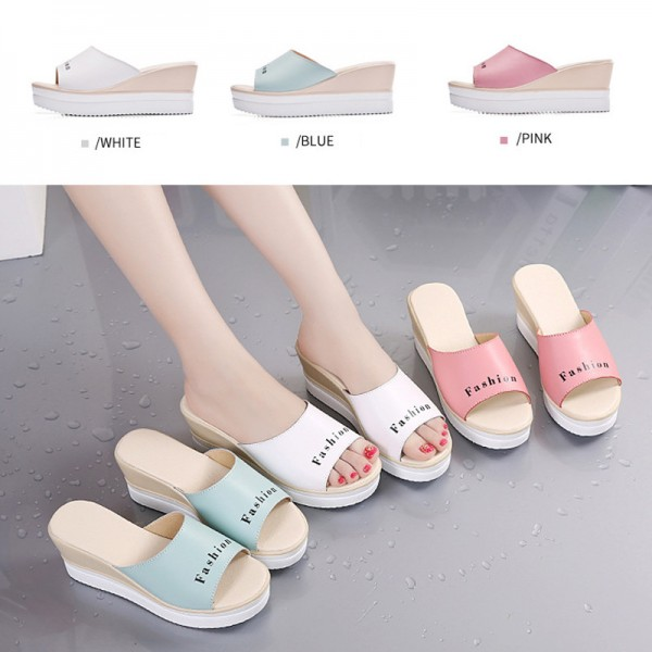 Summer Fashion Women Wedges Outdoor Slippers Genuine Cow Leather Lady Shoes Free Mail Women Slippers Plus Size Extra Image 3