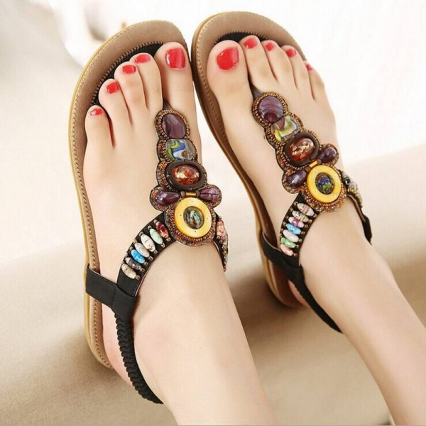 Summer Flat Bohemia Sandals Beach Flip Flop Gladiator Shoes New For Women Thumbnail