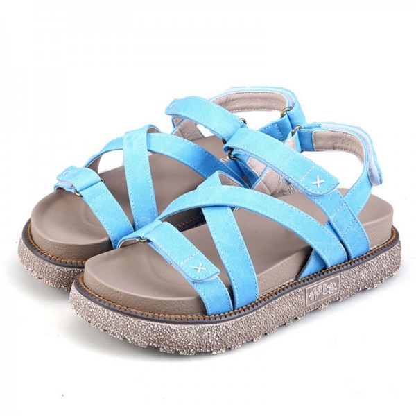 Summer Gladiator Sandals Comfort Flats Casual Creepers Platform Canvas Shoes Woman Plus Size 35 43 Sandals Extra Image 3