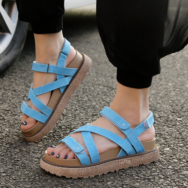 Summer Gladiator Sandals Comfort Flats Casual Creepers Platform Canvas Shoes Woman Plus Size 35 43 Sandals Extra Image 4