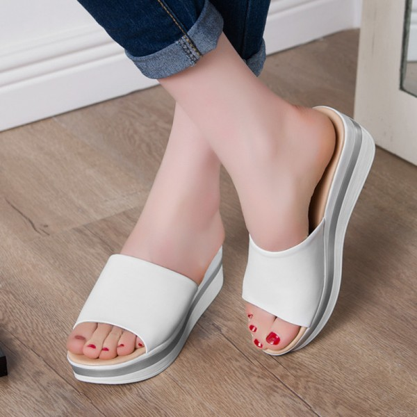 ... Summer Leather Sandals Flip Flops For Women Breathable Platform Sandals  Slippers Casual Shoes For Women Extra ...