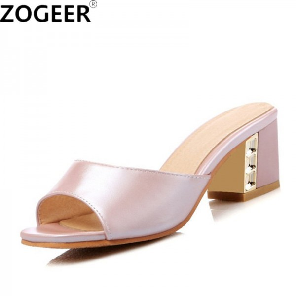 Summer Leisure Thick High Heel Slippers Fashion Casual Sandals Sweet Pink White Slides Causal Flip flops Shoes Woman