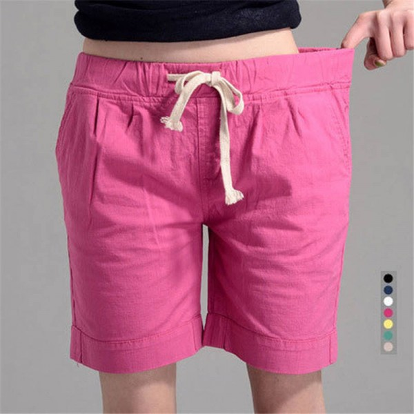 Summer New Fashion Loose Elastic Waist Short For Women Cotton Cool Summer Style New Thumbnail