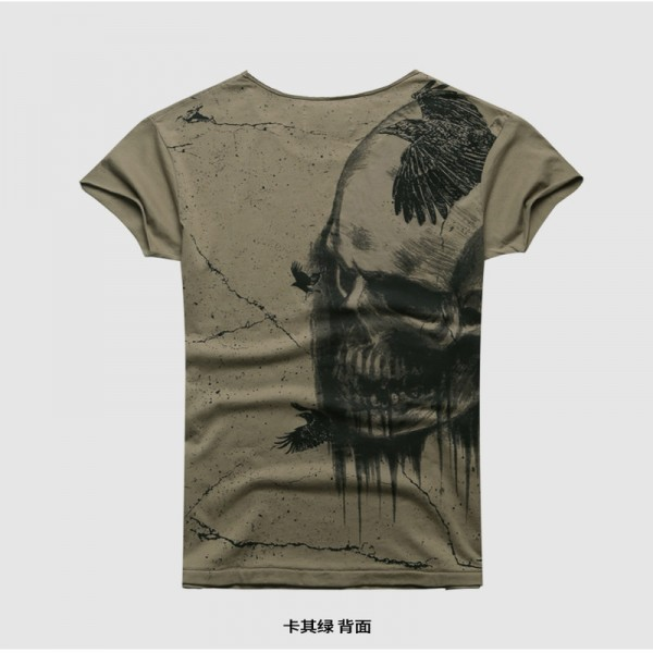Summer Retro Washed T Shirts For Men Dark Gray Skull Printing Casual Short Sleeved Tees Cotton Tops Extra Image 5
