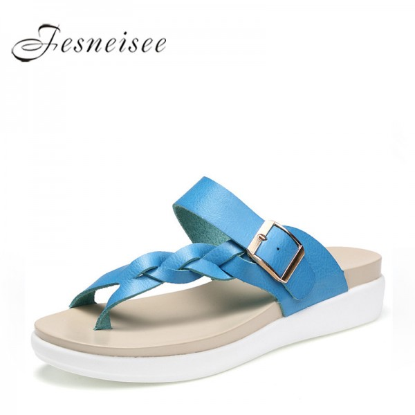 Summer Sandals Slippers For Women Genuine Leather Ladies Shoes Fee Shipping Flats Slippers For Women Extra Image 1