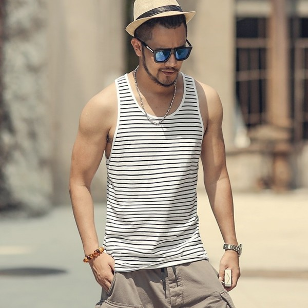 Summer Slim Casual Fashion Cotton Striped Tank Tops Men Bodybuilding New Sleeveless Singlets Brand Undershirt Vest Extra Image 1