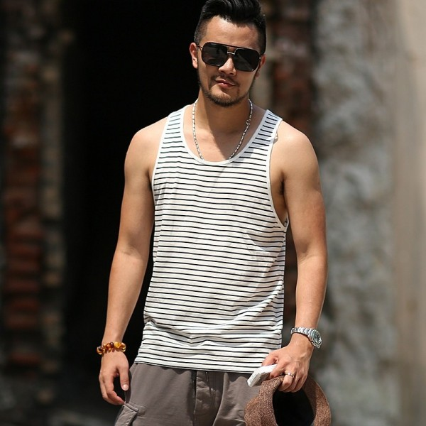 Summer Slim Casual Fashion Cotton Striped Tank Tops Men Bodybuilding New Sleeveless Singlets Brand Undershirt Vest Extra Image 3