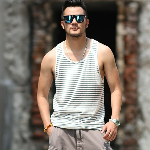 Summer Slim Casual Fashion Cotton Striped Tank Tops Men Bodybuilding New Sleeveless Singlets Brand Undershirt Vest Extra Image 4