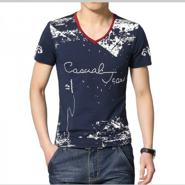 Summer Style T Shirt Men Casual Printed Short Sleeve Cotton Tees Slim Patchwork Tee Shirt Tops Plus Size