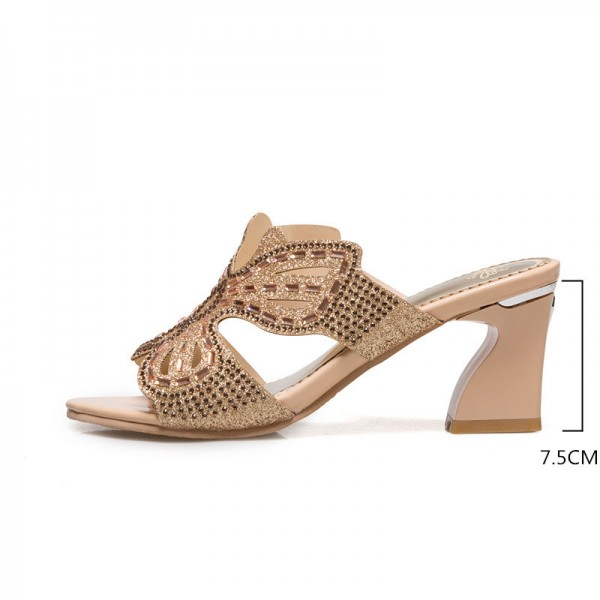 Summer Thick High Heel Slippers Fashion Luxury Rhinestone Sandals Causal Flip flops Beach Shoes Woman Gold Plus size Extra Image 1