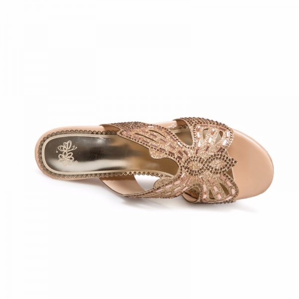Summer Thick High Heel Slippers Fashion Luxury Rhinestone Sandals Causal Flip flops Beach Shoes Woman Gold Plus size Extra Image 4