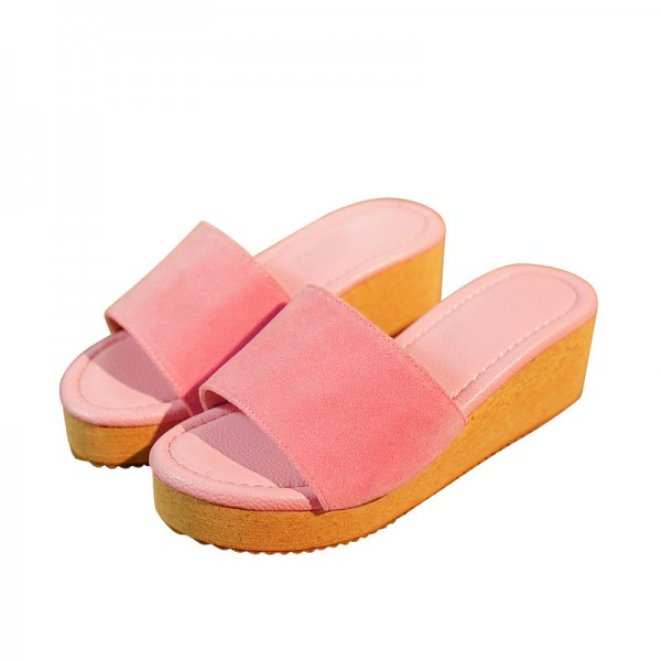 Summer Wedges 2018 Platform Women Sandals Casual Beach Shoes Woman Slip On Fashion Flat Slides With 5 Colors Extra Image 4