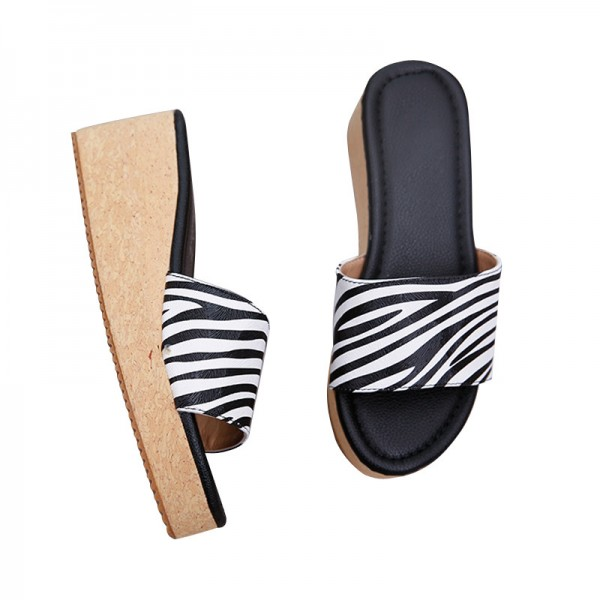 Summer Wedges 2018 Platform Women Sandals Casual Beach Shoes Woman Slip On Fashion Flat Slides With 5 Colors Extra Image 5