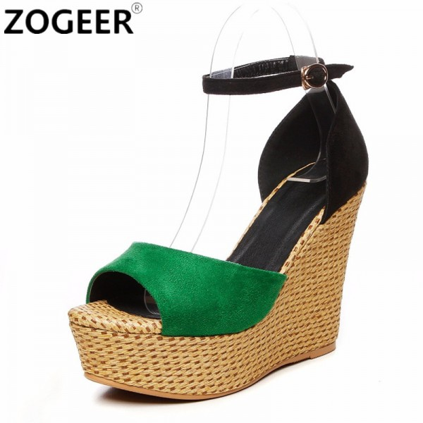 Summer Wedges Women Sandals Casual Open Toe High Heels Shoes Woman Fashion  Sexy Platform Ankle Strap ... 4a65dc39607c