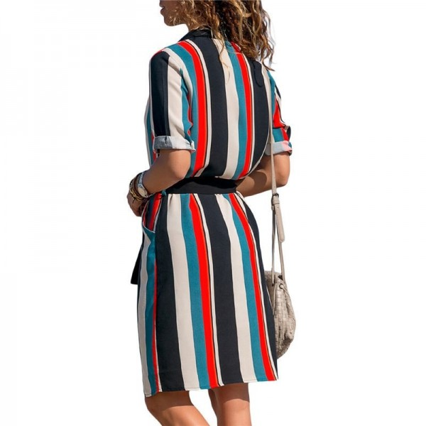 Summer Women Dress Striped Office Dress Long Sleeve Shirt Dresses Tunic Bandage Bodycon Beach Party Dress Vestidos Extra Image 2