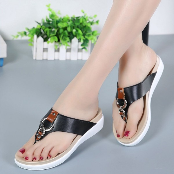 Summer Women Flip Flops Slipper Genuine Leather Casual Lady Shoes Free Shipping Women Flats Slippers Plus Size 35 43 Extra Image 3