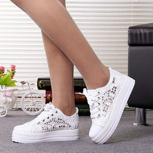 Summer Women Shoes Casual Cutouts Lace Canvas Shoes Hollow Floral Breathable Platform Flat Shoe Sposato feminine