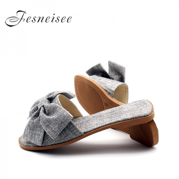 Summer Women Slippers Flat Heel Fresh Elegance Women Casual Home Cloth Slides Shoes Butterfly Knot Decoration Mules Extra Image 1
