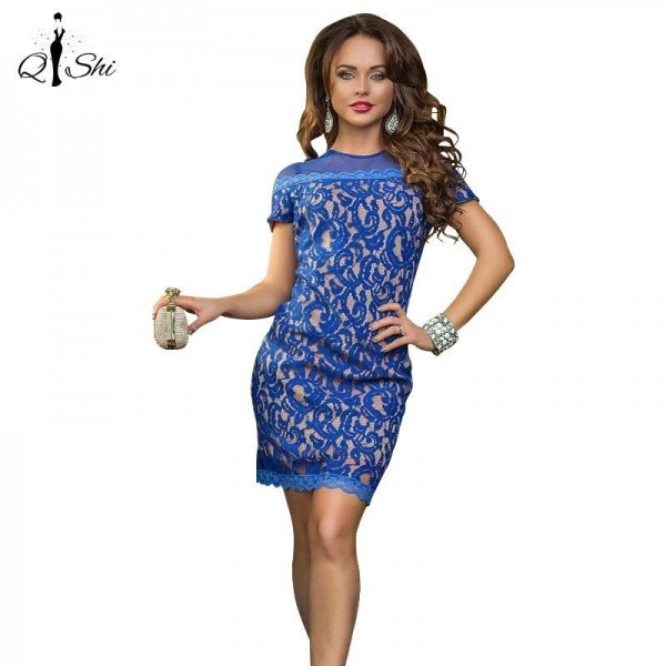 Summer Women Vintage Short Sleeve Bodycon dress Zipper Club Mini Wear Women Thumbnail