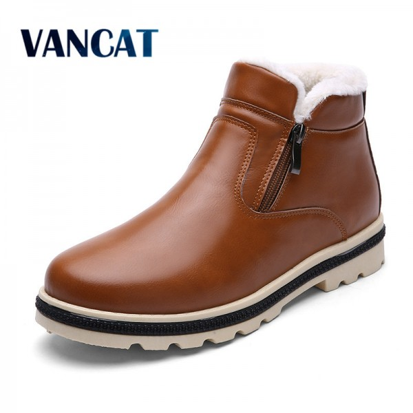 Super Warm Mens Winter Leather Boot Men Outdoor Waterproof Rubber Snow boots Leisure Martin Boots England Shoes Extra Image 1