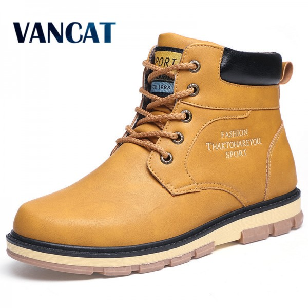 Super Warm Mens Winter Pu Leather Ankle Boots Men Autumn Waterproof Snow Boots Leisure Martin Autumn Boots Mens Shoes Extra Image 1