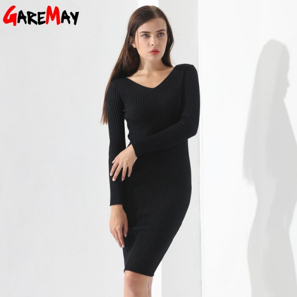 Sweater Dress Women Knitted Slim Pullover Clothing V Neck Sweater Ladies Long Sleeve chandail femme dress warm Ladies Extra Image 4
