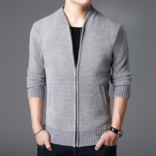 Sweater Men Slim Cardigan Thick Fit Jumpers Knitwear Zipper Warm Winter Korean Style Casual Clothing Male Outfit Extra Image 2