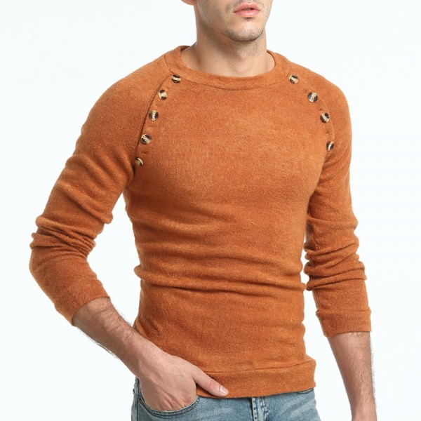 Sweater Pullover Men Male Brand Casual Slim Sweaters Men Button Splicing Solid Color Hedging Turtleneck Sweater Extra Image 6