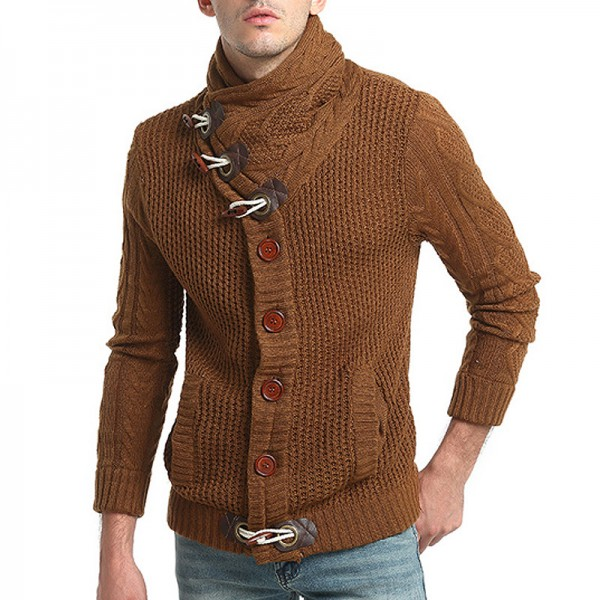 Sweater Pullover Men Male Brand Casual Slim Sweaters Men Horns Buckle Thick Hedging Turtleneck Mens Sweater Extra Image 1